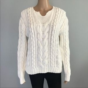 Ralph Lauren Rugby white cable knit sweater